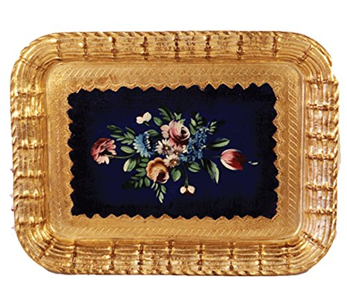 "Pescaressi Tray Wood Blue & Gold Hand Painted & Made in Italy 19.5"" X 15"""