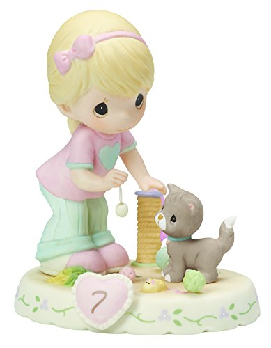 "Precious Moments 154034 Birthday Gifts, Growing in Grace, Age 7"", Bisque Porcelain Figurine, Blonde Girl"