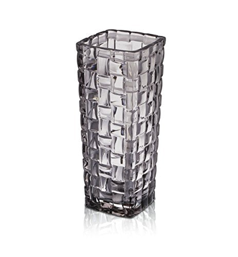 Celebrations by Mikasa Glass Basketweave Bud Vase, Gray