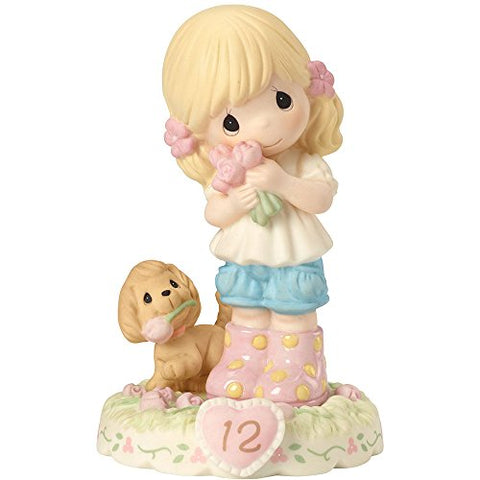"Precious Moments 162011 Birthday Gifts, Growing in Grace, Age 12"", Bisque Porcelain Figurine, Blonde Girl"