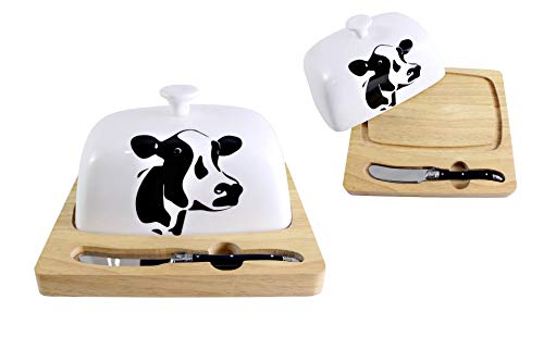 Cow Butter Board with Knife and Cover