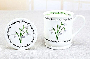 MUG JANUARY SNOWDROP FLOWER BONE CHINA WITH COVER