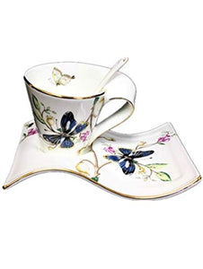 Hampstead Collection Wave Shape Butterfly Mug, Saucer & Spoon Set (200ml)