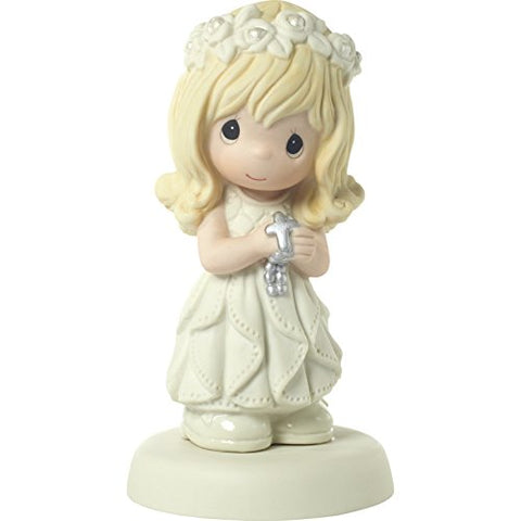 Precious Moments 172009 May His Light Shine in Your Heart Today & Always Blonde Hair Girl with Light Skin Tone First Communion Bisque Porcelain Figurine