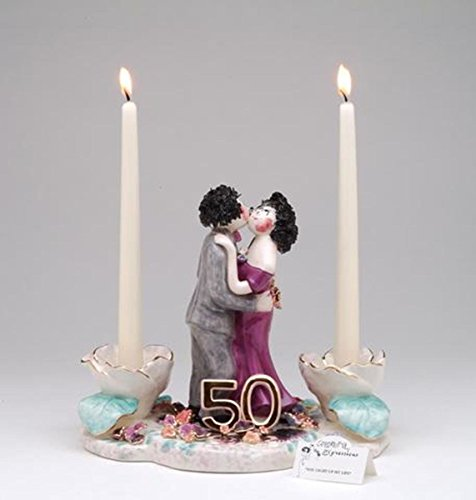 "ATD 31820 9.25"" 50 Anniversary Dancing Couple in Love Taper Candle Holder"