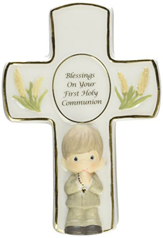 Precious Moments Blessings on Your First Holy Communion Covered Box with Rosary Boy Figurine