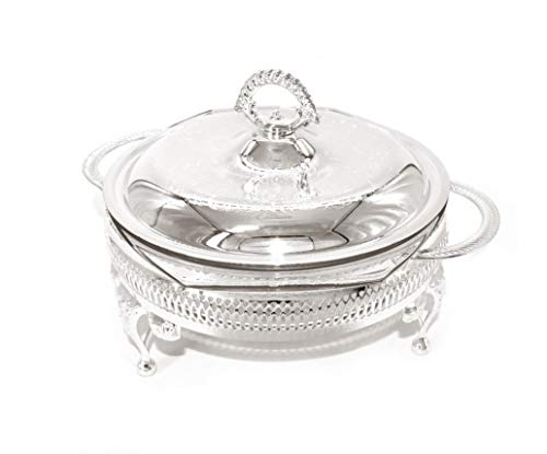"Queen Anne Casserole with Warmer 11.5"" Round Silver Plated Made in England"