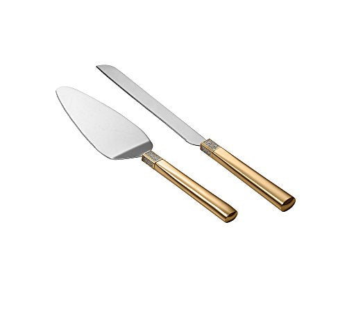 Waterford Lismore Diamond Gold Cake Knife & Server