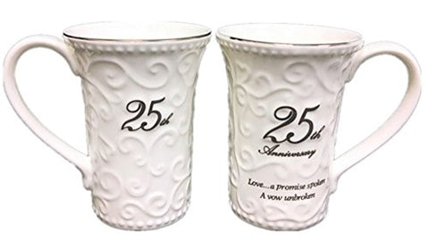 25th Wedding Anniversary Mugs Set of 2 11-OZ
