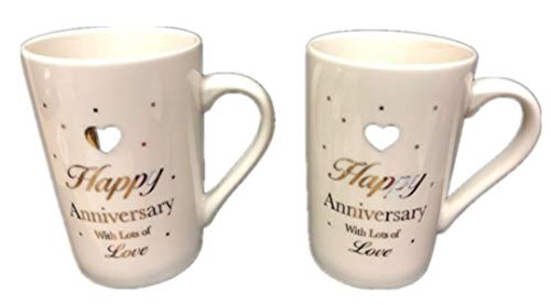 Happy Anniversary 2 Mug Set by Hampstead Collection (12-oz)