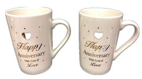 Hampstead Collection Happy Anniversary Mugs, Set of 2 (12oz)
