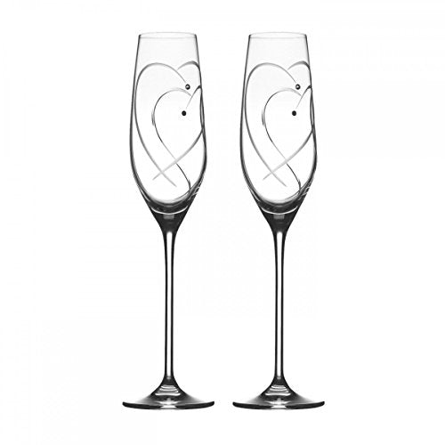 Royal Doulton Flute Pair By Royal Doulton Promises Two Hearts Entwined with Swarovski Crystals