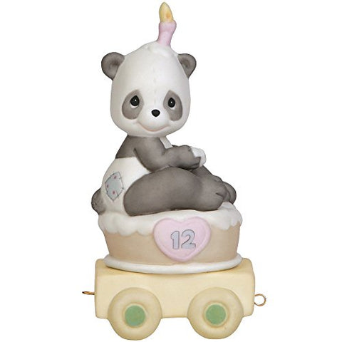 Precious Moments 142032 Birthday Gifts, Give A Grin and Let The Fun Begin, Birthday Train Age 12, Bisque Porcelain Figurine