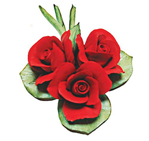 Roses on a Leaf (Red) Porcelain Flower Hand Made in Italy