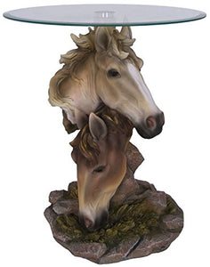 "K99486 Mustang Horse Heads End Table 20"" High"