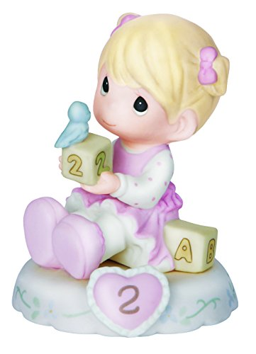 "Precious Moments 142011 Birthday Gifts, Growing in Grace, Age 2"", Bisque Porcelain Figurine, Blonde Girl"