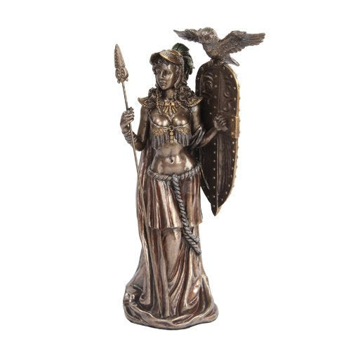 Greek Goddess Athena w/ Owl Spear & Shield Statue Sculpture Figure-Bronze Finished