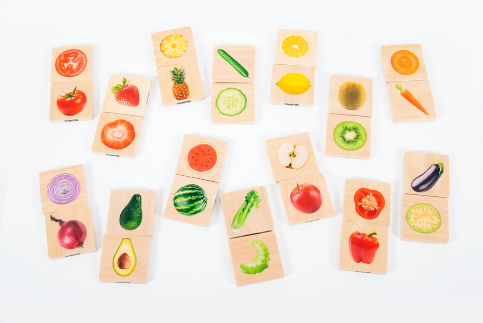 Wooden Fruit & Vegetable Match Pack of 28 - Daily Mind