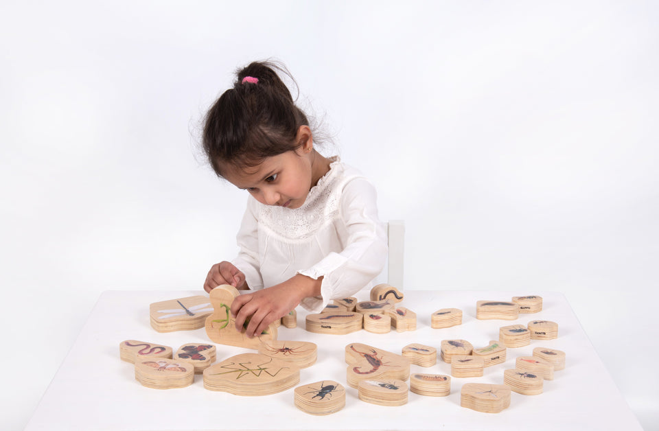 Mini Beast Wooden Blocks - 33 Pieces - Daily Mind
