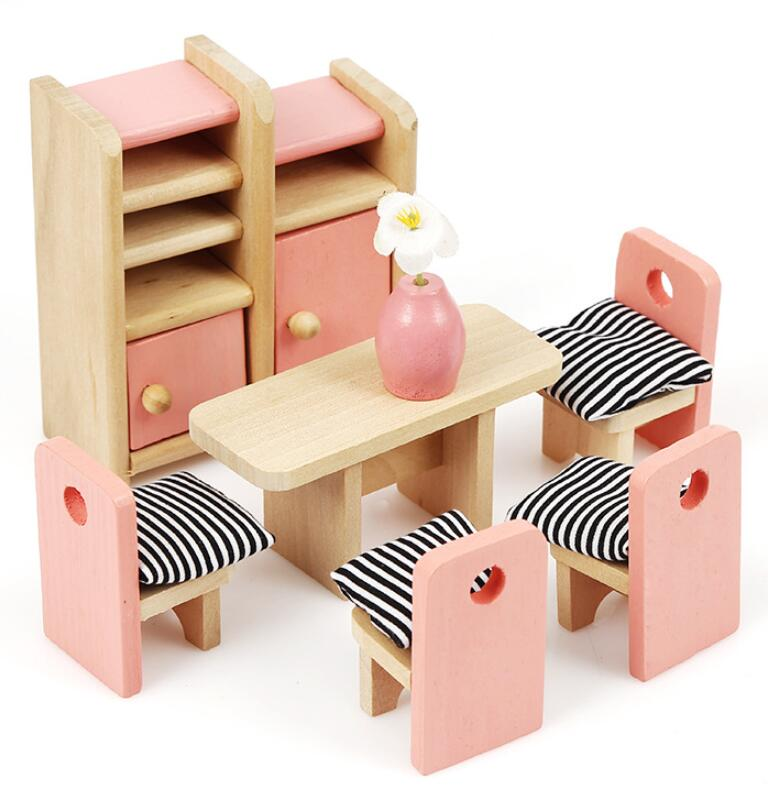 Mini Furniture Doll House - Wooden Set - Daily Mind