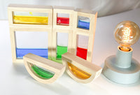 Sensory Wooden Blocks filled with coloured water  - 8 pieces - Daily Mind