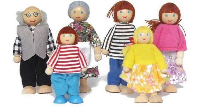 Wooden Doll House - Six Family Members