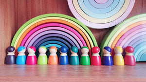 Peg Coloured 12 Wooden Dolls - Daily Mind