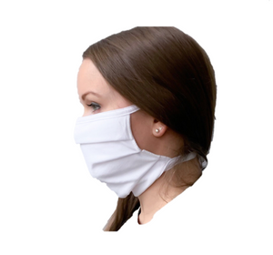 W500-Fabric Masks w/ Ties - White ($1.85/mask, pack of 10/min order 3 packs)