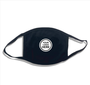 B200-Black Fabric Mask with Earloops with Logo