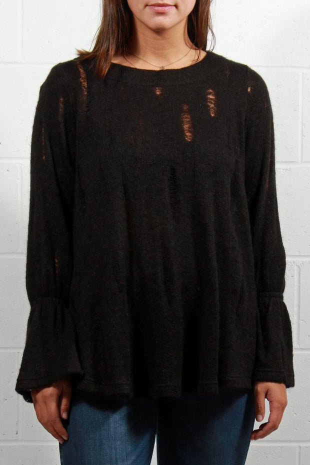 Que Distressed Bell Sleeve Sweater Black 8329