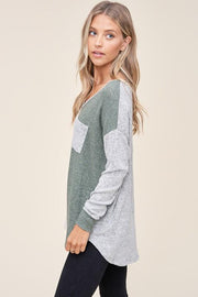 Falling For You Oatmeal & Olive Top