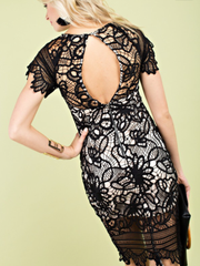 Open Back Lace Dress-Final Sale