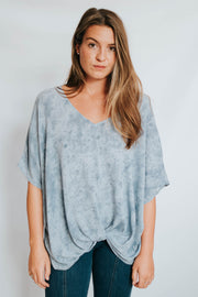Multi Blue Knot Front Top