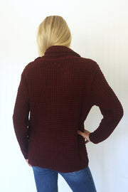 I Can't Wait Assymetrical Dk. Burgundy Sweater