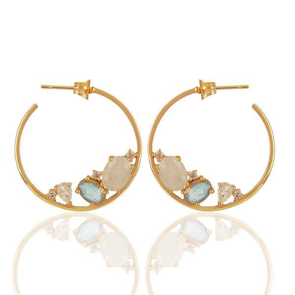 Mined Jewels - Labradorite, Rainbow Moonstone Hoops