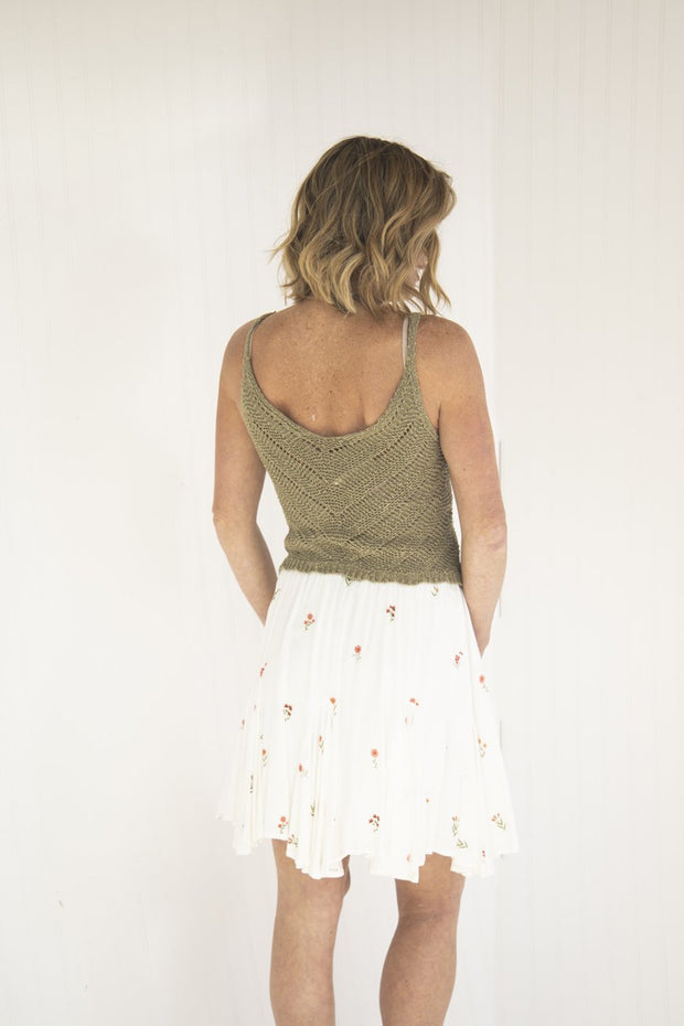 Olive You So Much Cropped Woven Tank