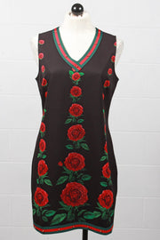 Tricotto Floral V Neck Dress with Striped Trim Black J303