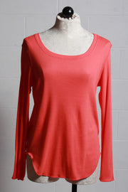 Nally and Millie Ribbed Long Sleeve Tee Coral