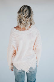 Distressed V Neck Sweater - Light Pink