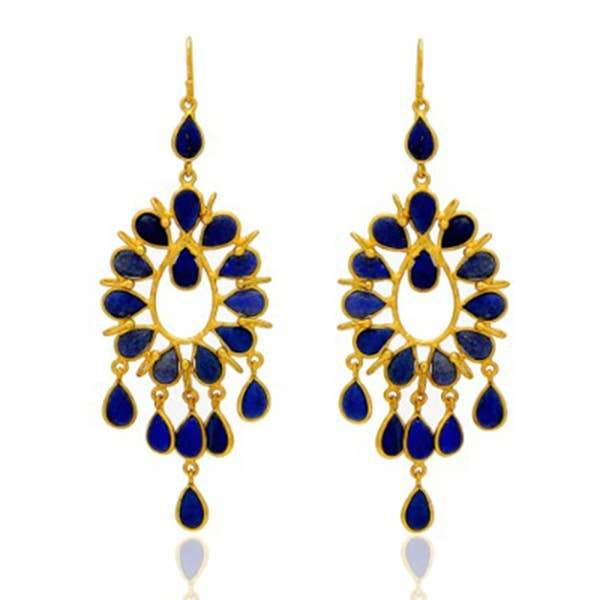 Mined Jewels - Lapis Lazuli Brushed Gold Danglers