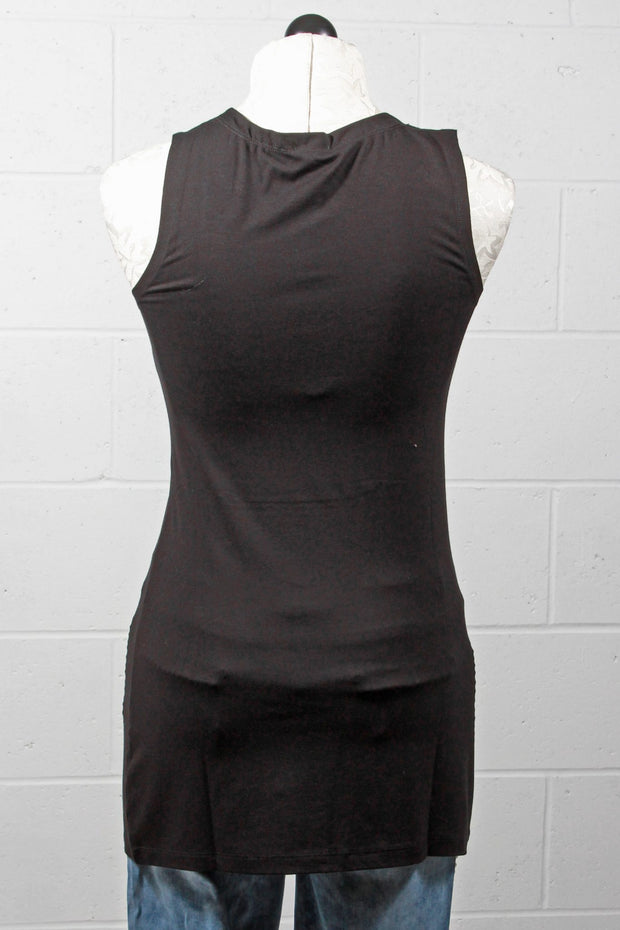 Tricotto Long Square Neck Tank Top Black 943