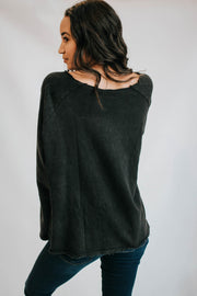 Washed Black Raw Neck Sweater