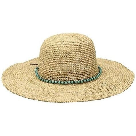 Dorfman Pacific Raffia Hat with Beaded Turquoise Band