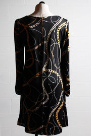 Frank Lyman Chain and Pearl Dress Black Gold 196336