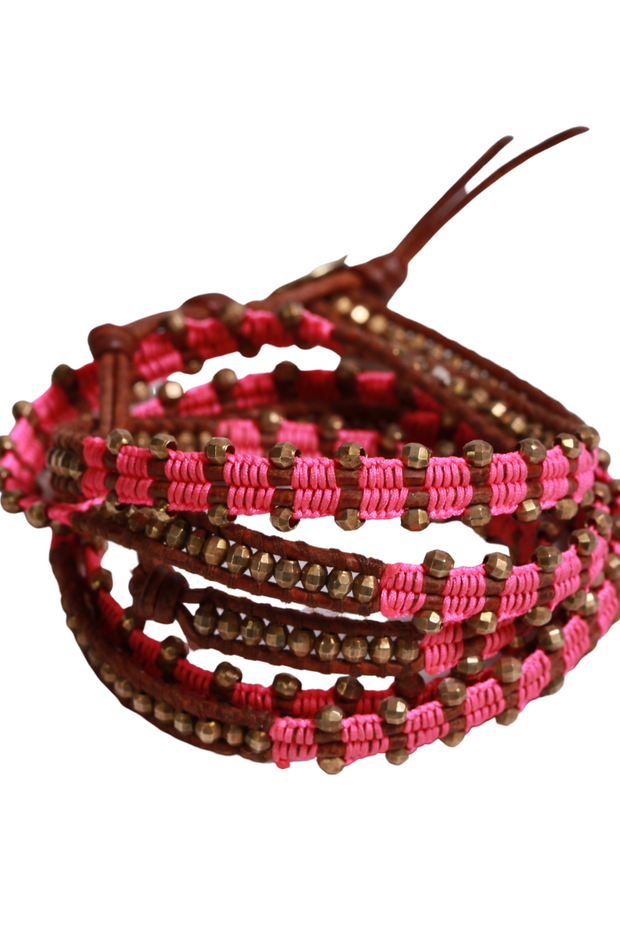 Chan Luu Pink and Gold Bead Wrap Bracelet