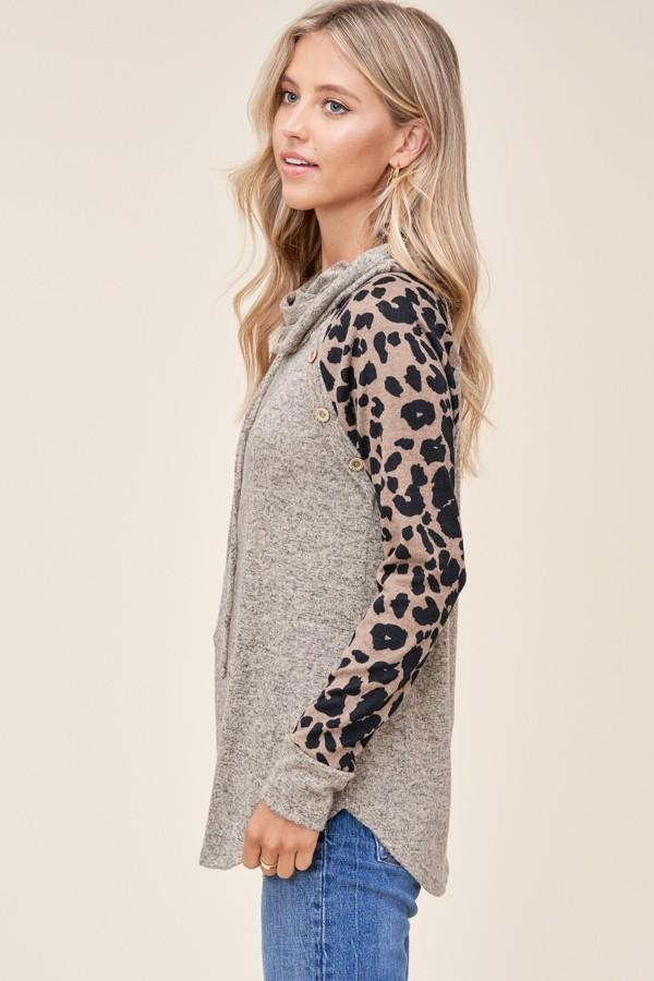 Just The Way You Are Taupe Animal Print Top