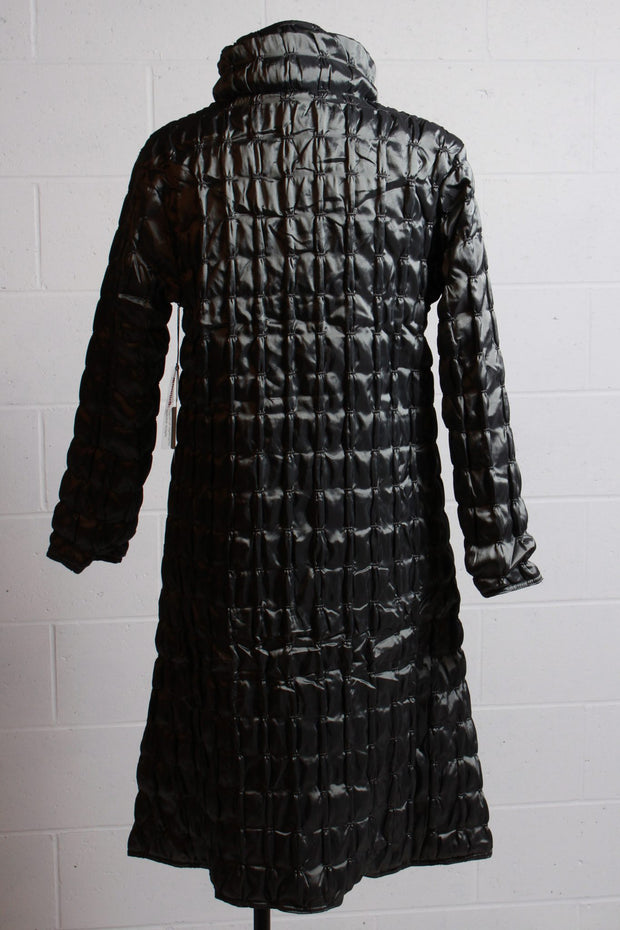 UBU Clothing Quilted Zip Front Full Length Coat Silver
