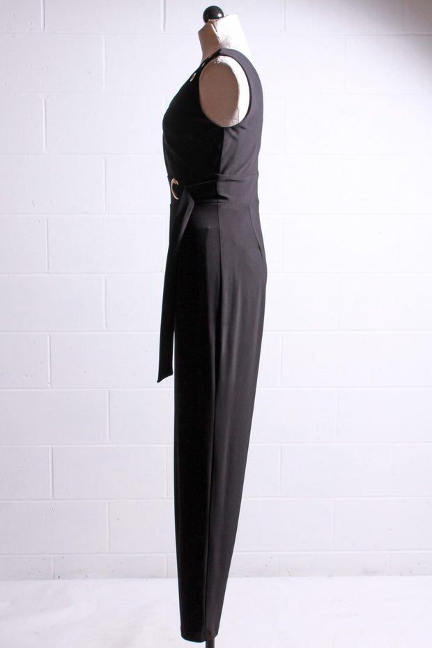 Frank Lyman Sleeveless Jumpsuit with Grommets Black