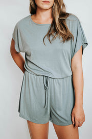 Grey Blue Romper with drawstring - SALE