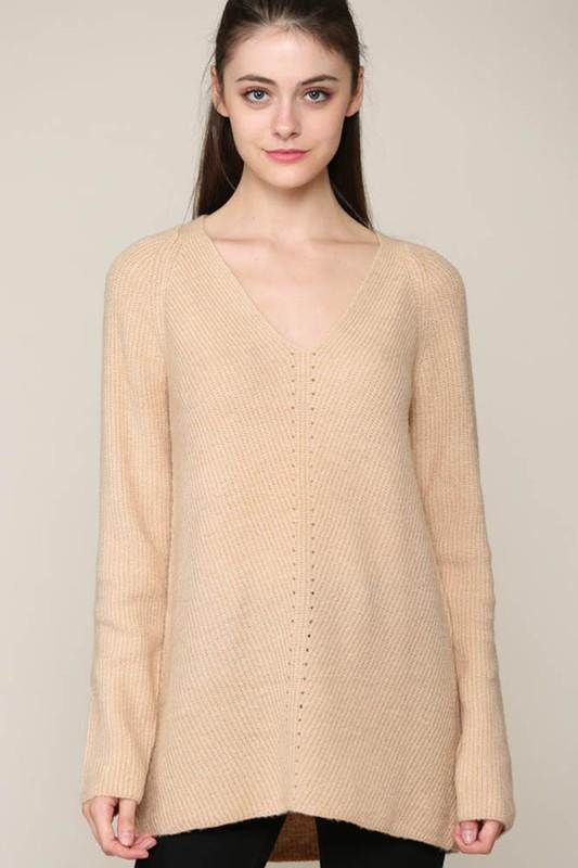Love You Too Beige V-Neck Sweater